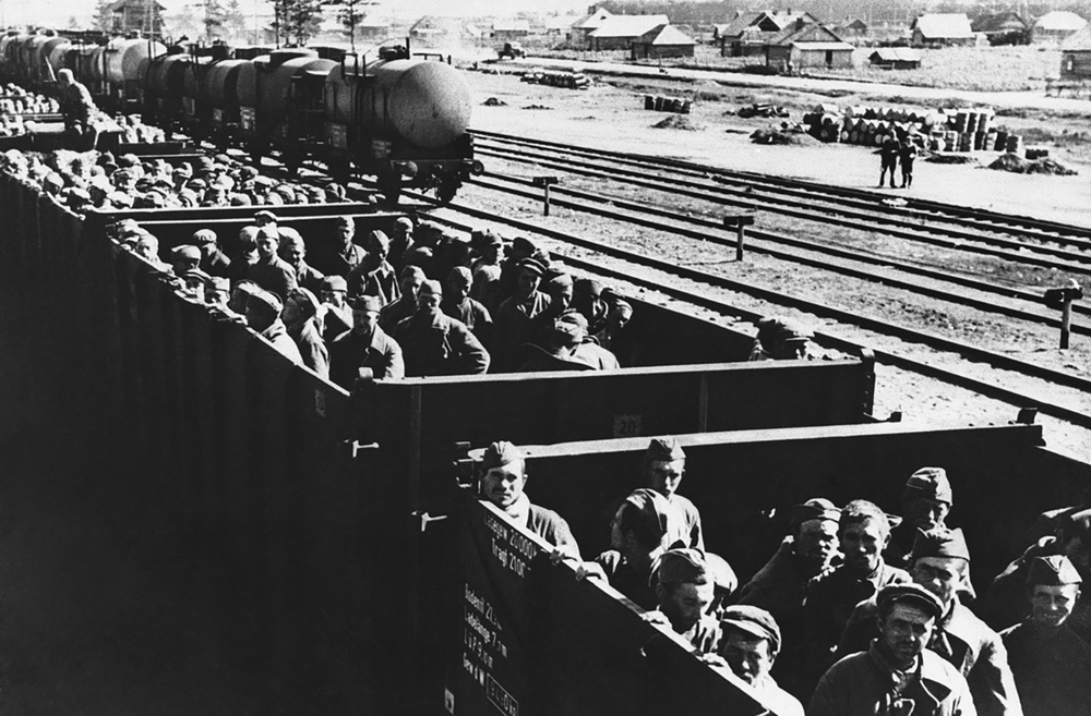 Soviet prisoners of war en route to Germany. October 3, 1941. Photographer unknown, AP.