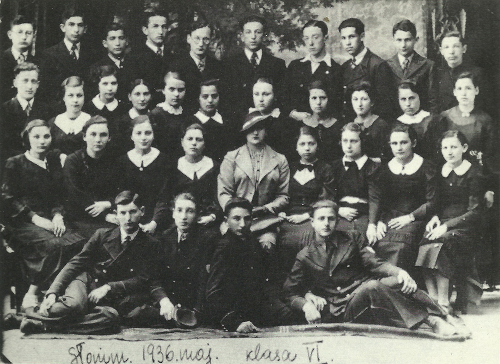 Class photo. Shepetinsky top row, 2nd from right. Slonim, 1936