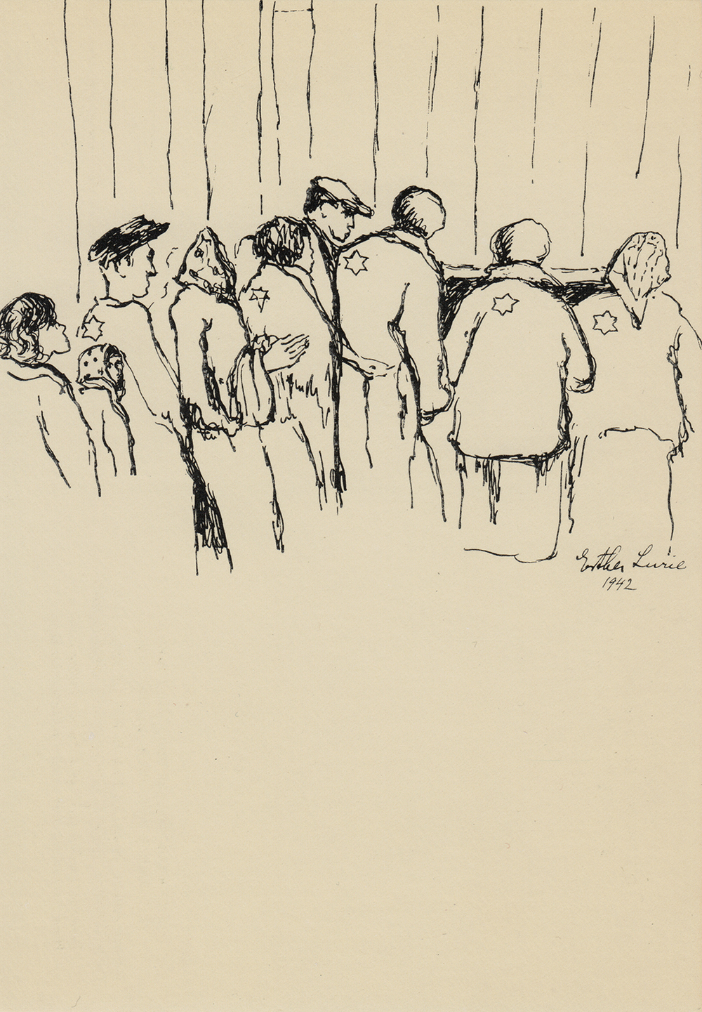 Drawn at Kovno Ghetto by Esther Lurie,1942.