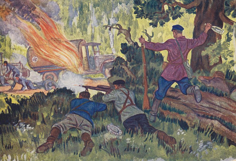 """""""Set it on fire!"""" Artist N. Kochergin. Postcard."""
