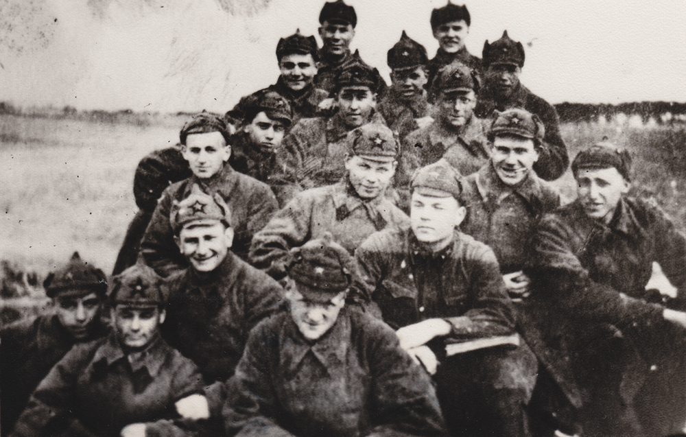 Cadet Avraham Levin, 3rd row from bottom, on left.  Brest, Belarus. 1940.