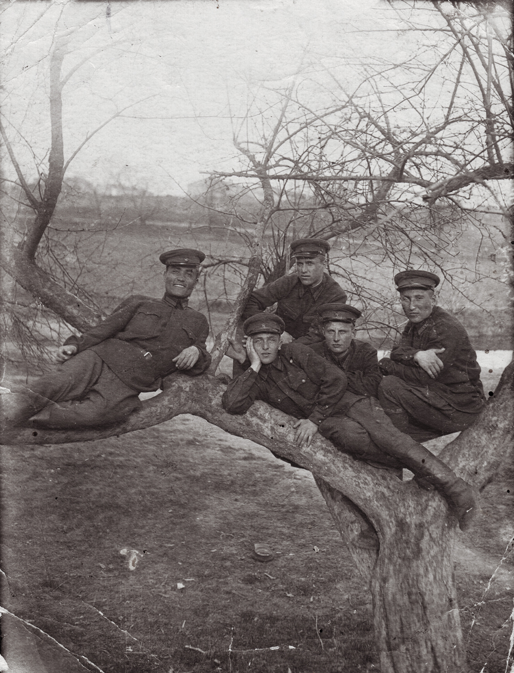 Cadet Semyon Rabovsky laying down, center.  Kiev Infantry School.  1941, pre-war.