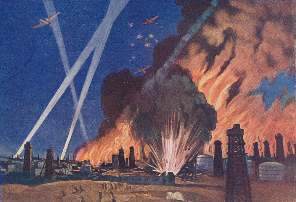 "Soviet WWII propaganda postcard, published in Leningrad during the blockade. Artist V. P. Belkin. ""Soviet aviation bombs oil fields in Ploie  ş  ti ."""