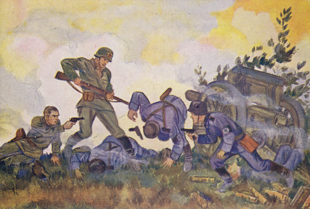 "Soviet WWII propaganda postcard, published in Leningrad during the blockade. Artist N. Kochergin. ""The end of a fascist battery"""