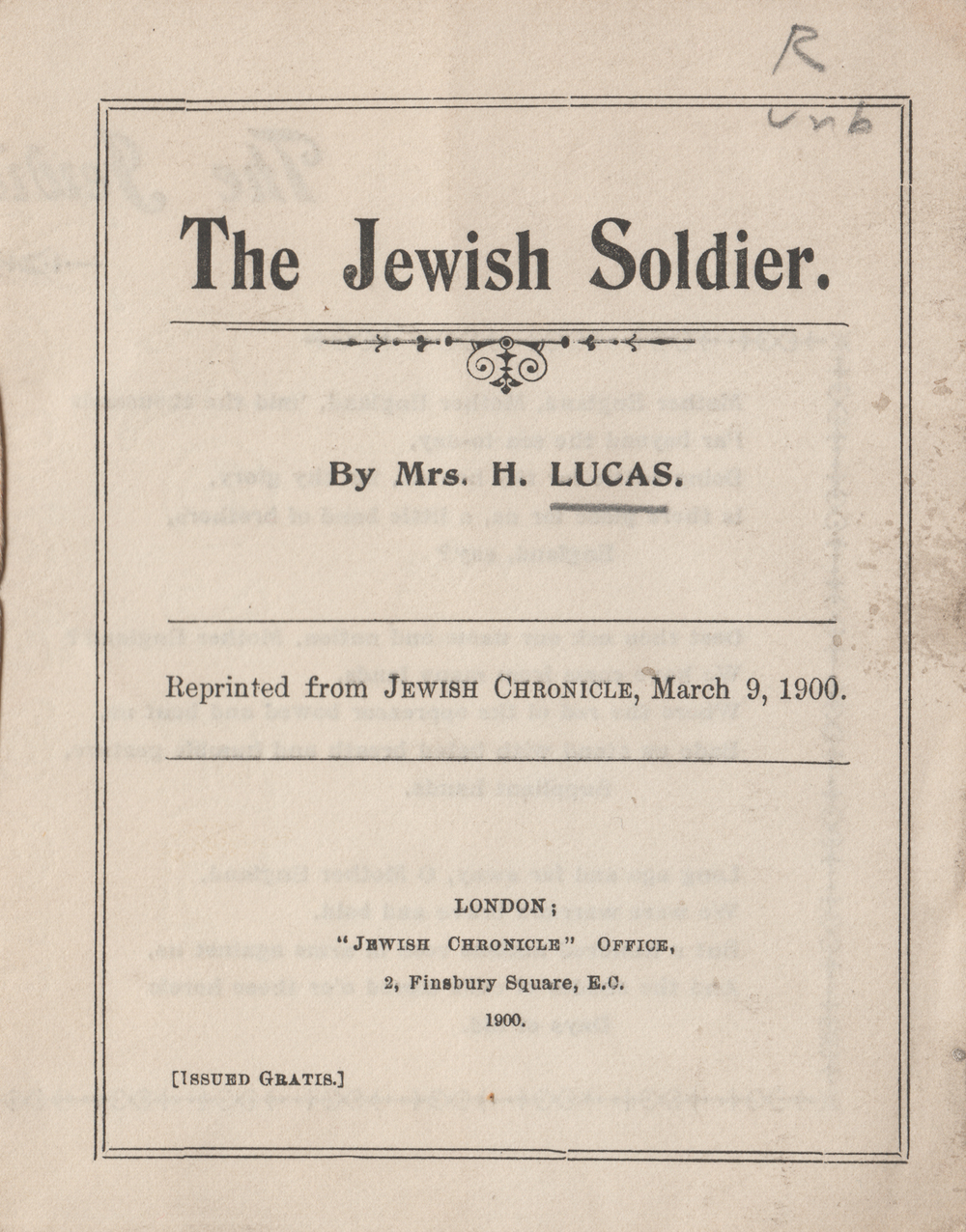 "Poem titled ""The Jewish Soldier"" by Alice Lewis. Reprinted from the Jewish Chronicle. London, 1900."