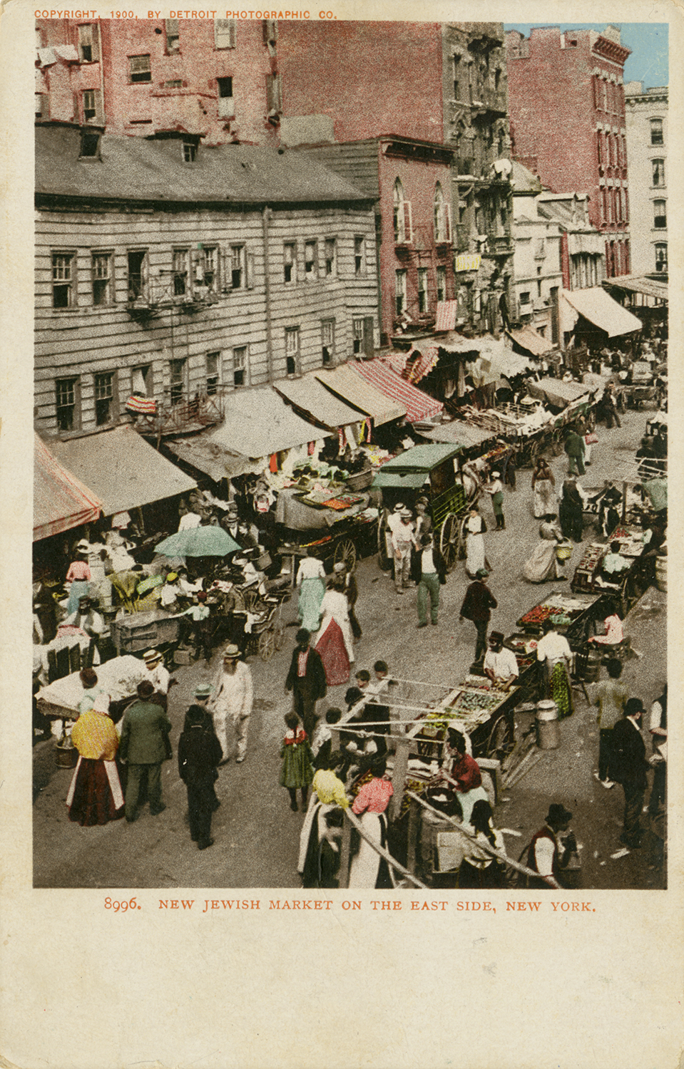 "The caption on this postcard reads ""New Jewish Market on the East Side, New York."""