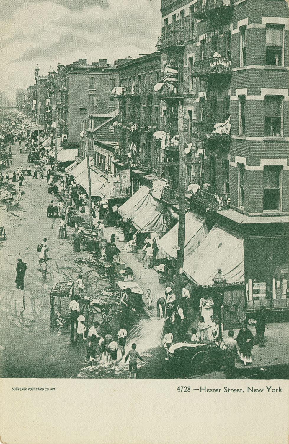 Certain Lower East Side images became iconic, especially those featuring crowded Hester Street. This image appears on five different cards in the Blavatnik Archive collection, each with a slightly different caption or color scheme.