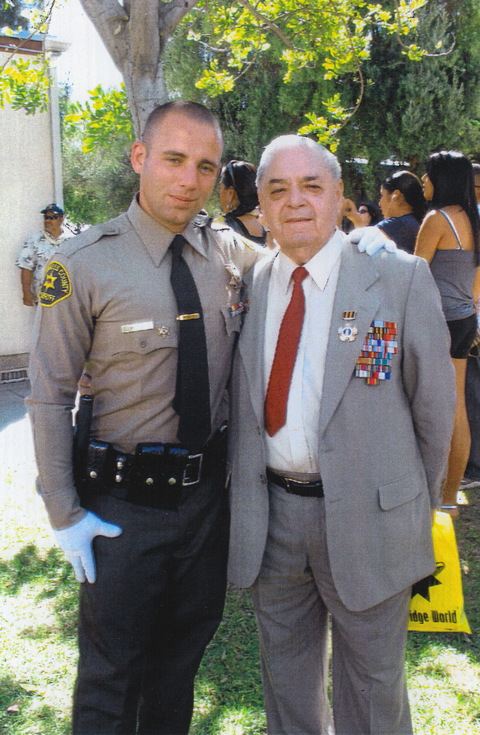 Vladimir Barkon with his grandson Dima, who served in the US Army in Iraq, 2008
