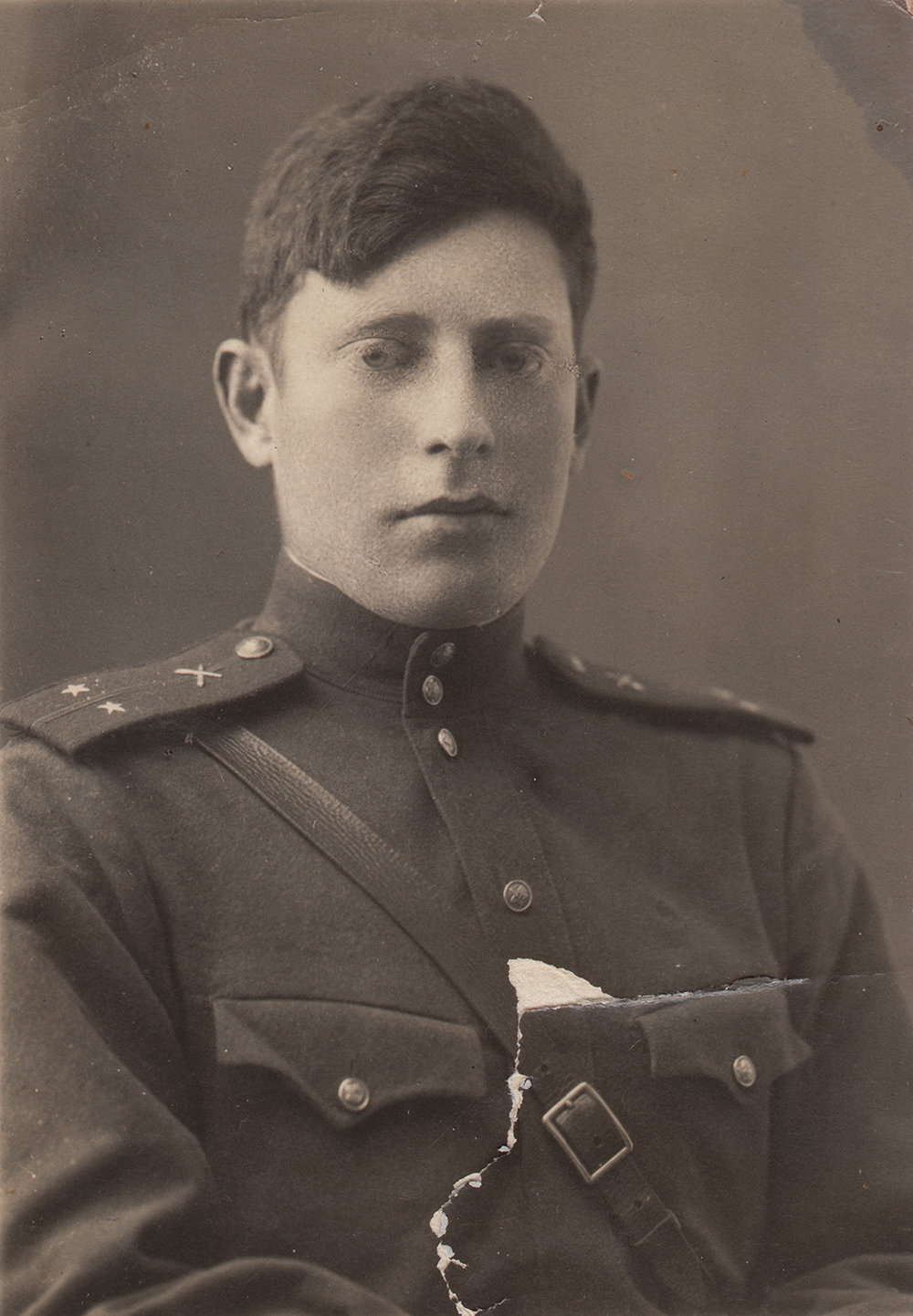 "Lieutenant Evsey Epshtein. Inscription on reverse: ""A moment to remember, for you, Zhenya. Perhaps when you look at this photo you will remember me. [Redacted] Front. On the shore of the Donets River. October 12, 1943."""