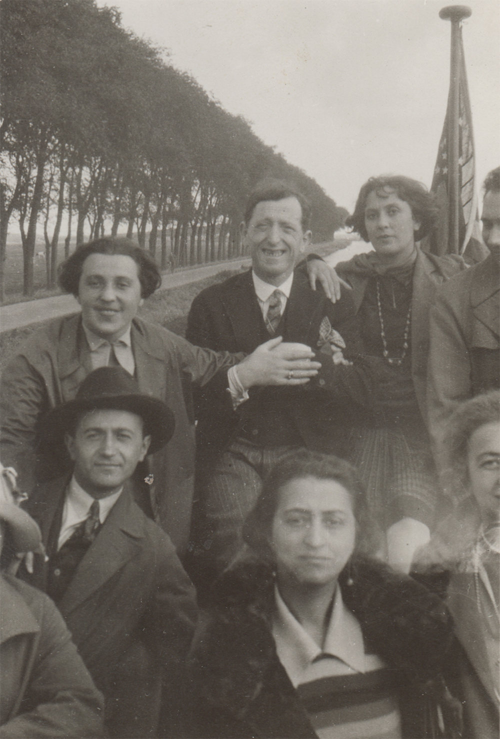 Photo of actor troupe on the way to Marten Island, Netherlands. 1928