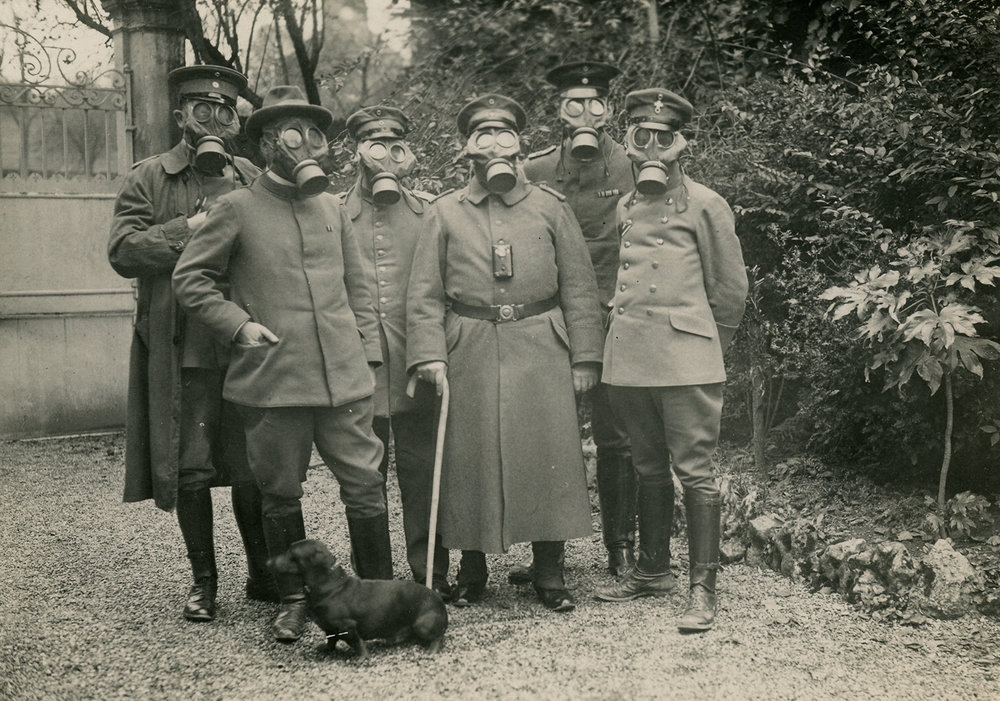 Soldiers wearing gas masks. ca. 1914-1918