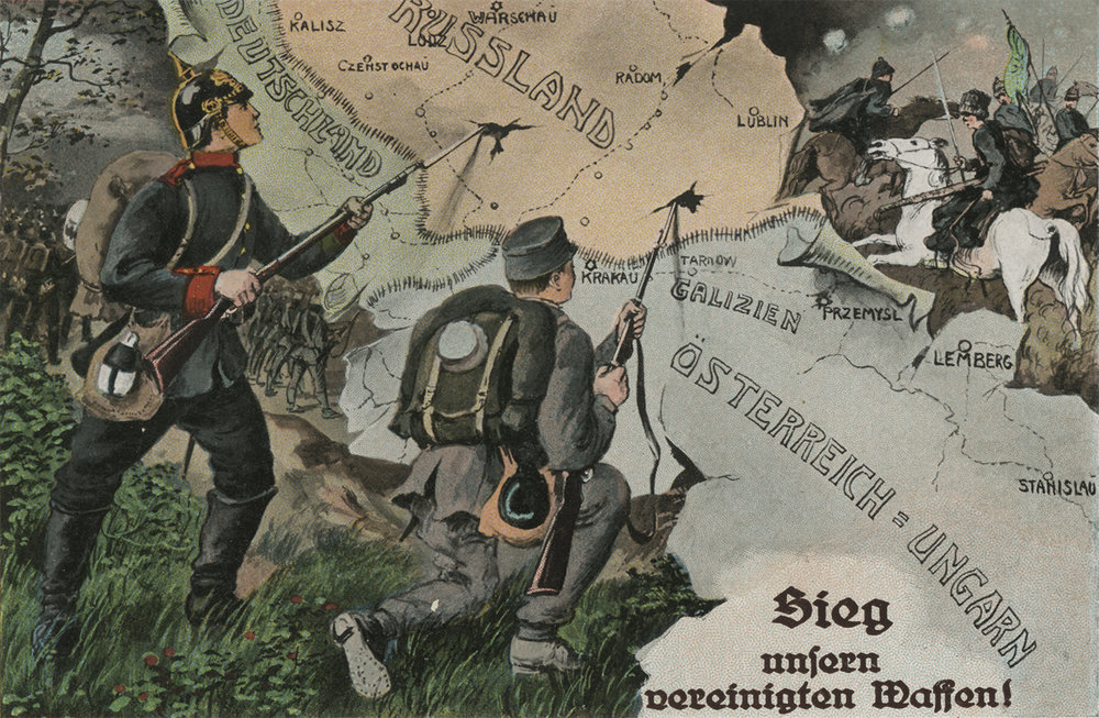 Illustration of German soldiers peircing the map of Russia with bayonets. 1914