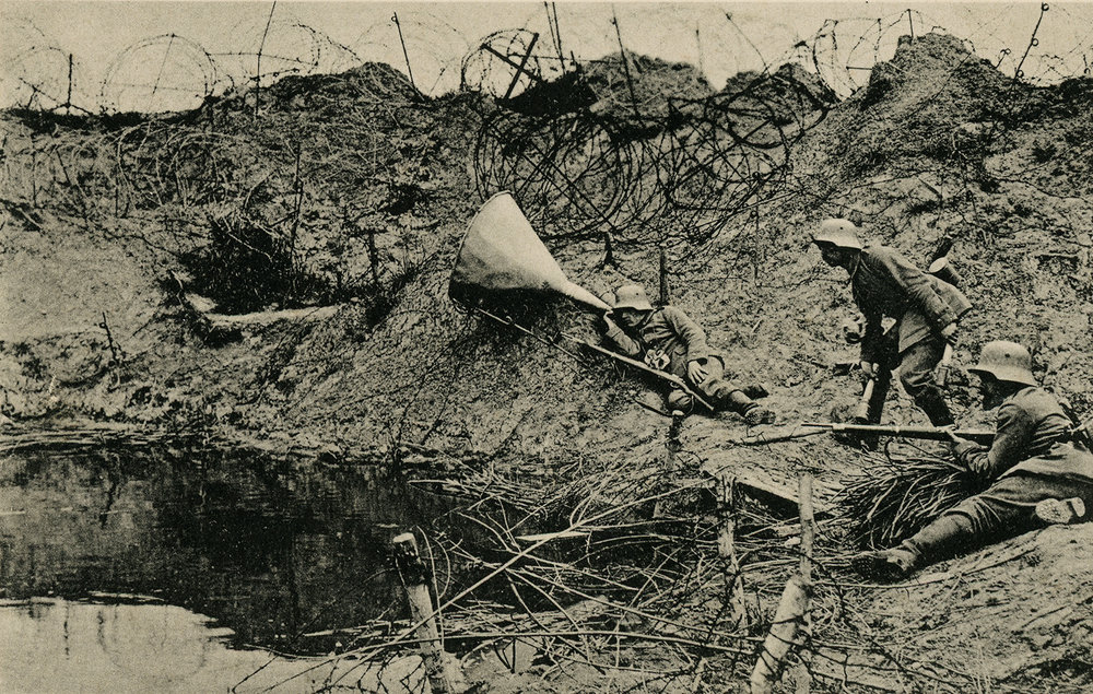 """Reality pictures of the world war. Listening in a mine funnel."" 1917"