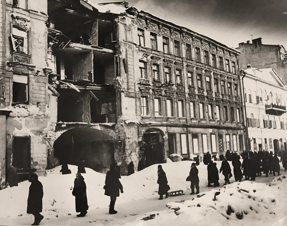 Photograph of a bombed out building during the Siege of Leningrad. ca. 1941-1944