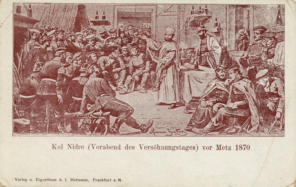 Postcard. Kol Nidre (Vorabend des Versohnungstages) vor Metz 1870