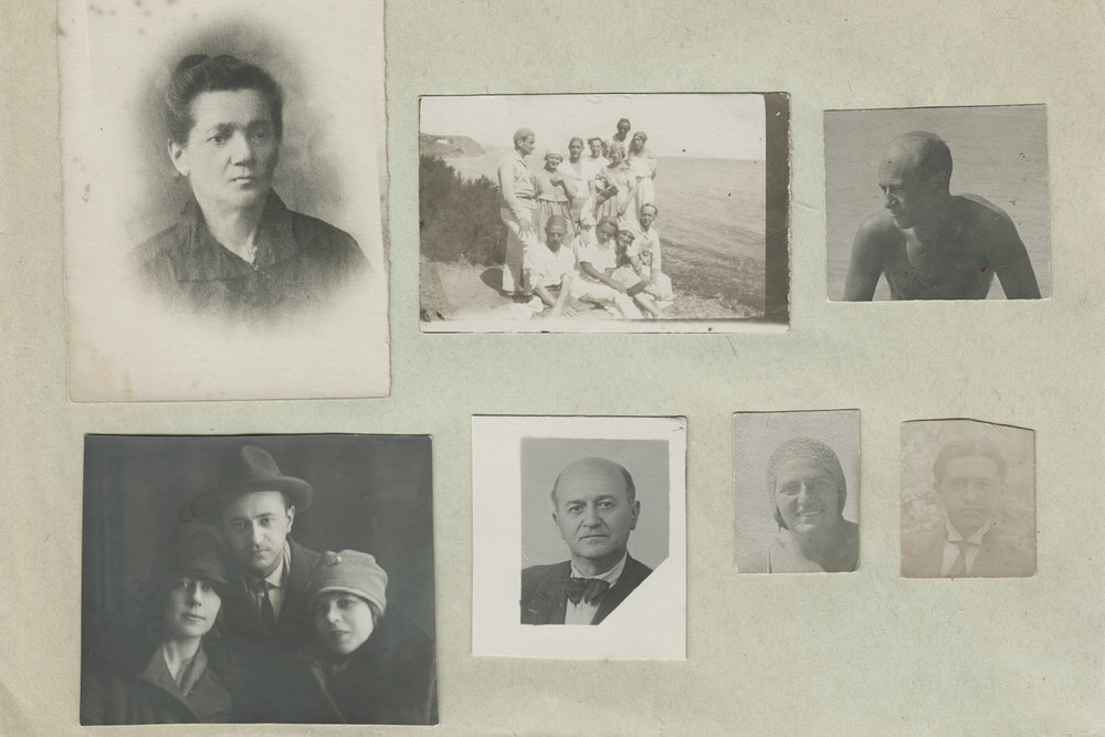 Collection of photographs featuring of Moscow State Yiddish Theatre actors.