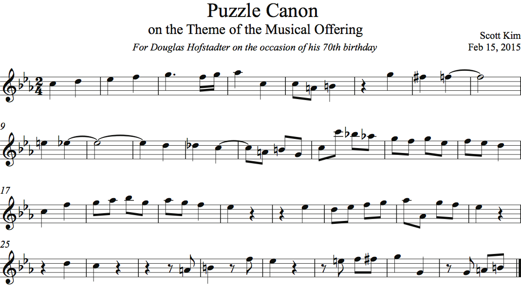 Puzzle Canon on the Theme of the Musical Offering — Scott Kim