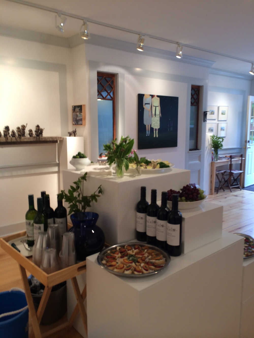 Here I see artwork, left to right, from Goody-B. Wiseman, Susan Parish Adam, Kara taylor, GBW again and Gregory Dunham. Great opening wine and THOSE OLIVES  from Max at the Blue Hill Wine Shop and food from Markel's Bakehouse. YUM.