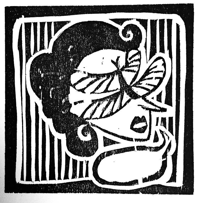 """Woodblock print, 4""""x4"""", 2015  Unframed- $5"""