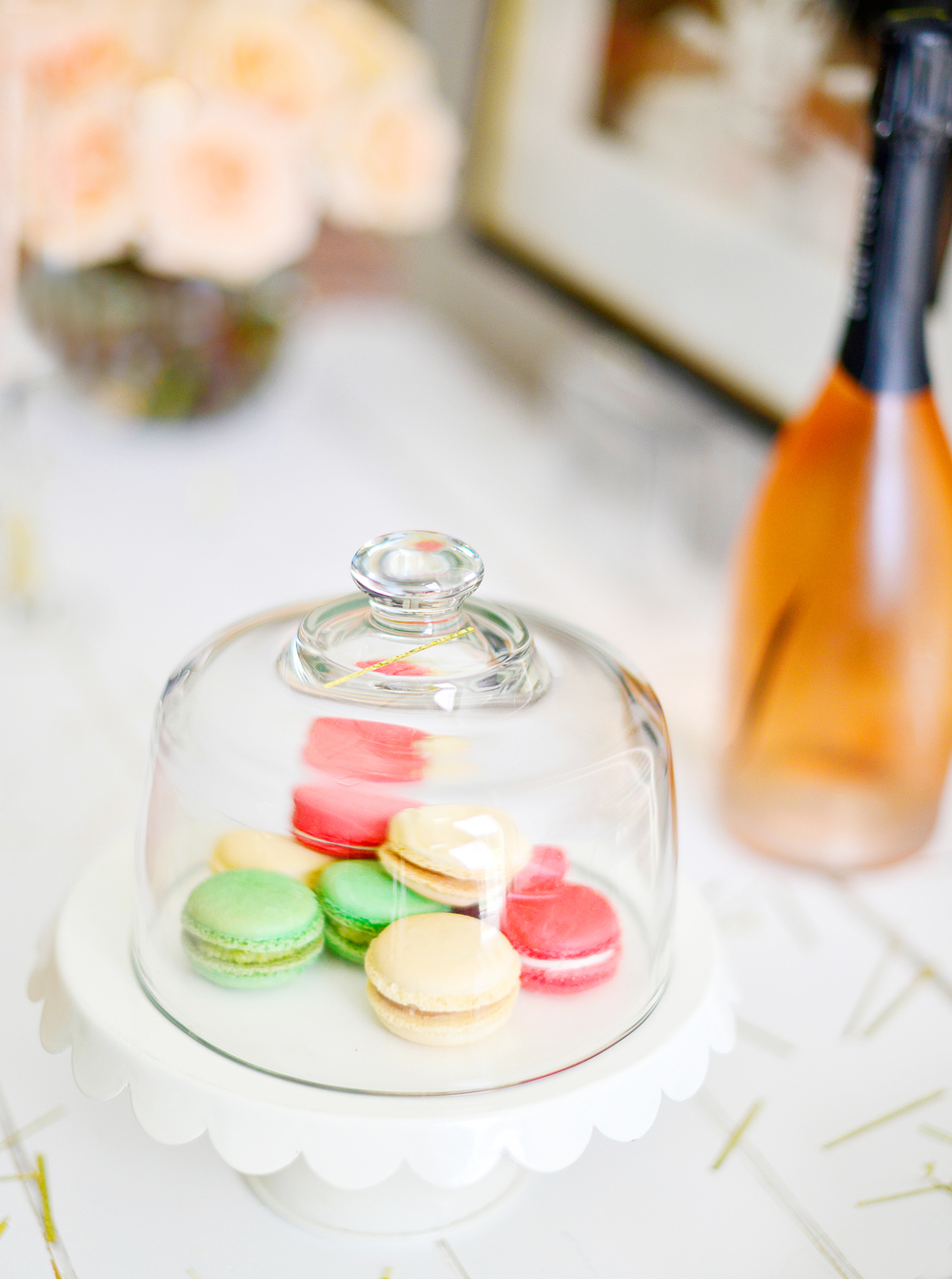 Macarons are a perfect dessert to serve with Champagne. Plus they make the cutest decorations.