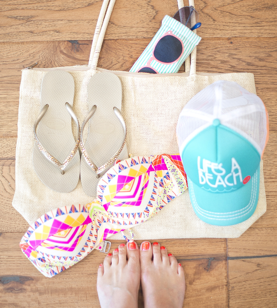 Don't forget these essentials when packing for the lake or beach; Rhinestone Havanas, Maria Hoffman Bikini top from ShopBop.com, Roxy Hat