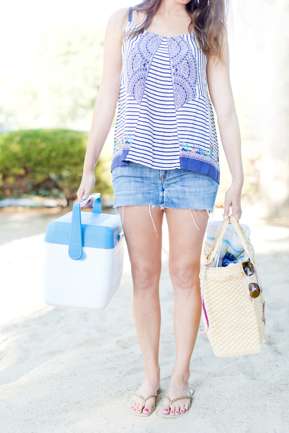 Tank Top: Harlow Cami from  Cabi  Summer Line 2014  Shorts: Homemade cutoffs  Flip Flops:  Havaianas