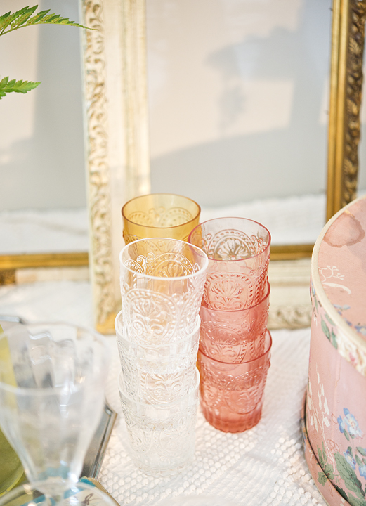 Vintage style glassware from Anthropologie