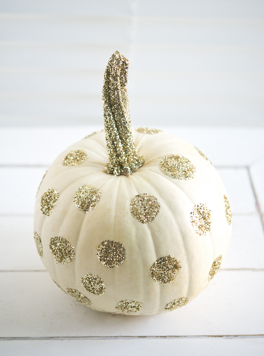 Polka dotted pumpkins with gold glitter