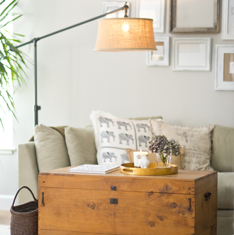 Home Decor and Design | This Pottery Barn Lamp and Old Wood Chest warms up the room! #potterybarn