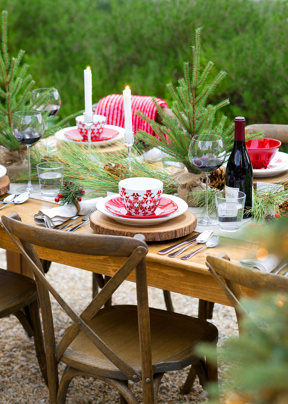 Crate & Barrel Christmas Tablescape with My Splendid Living - Christmas Amongst the Fir Blog post