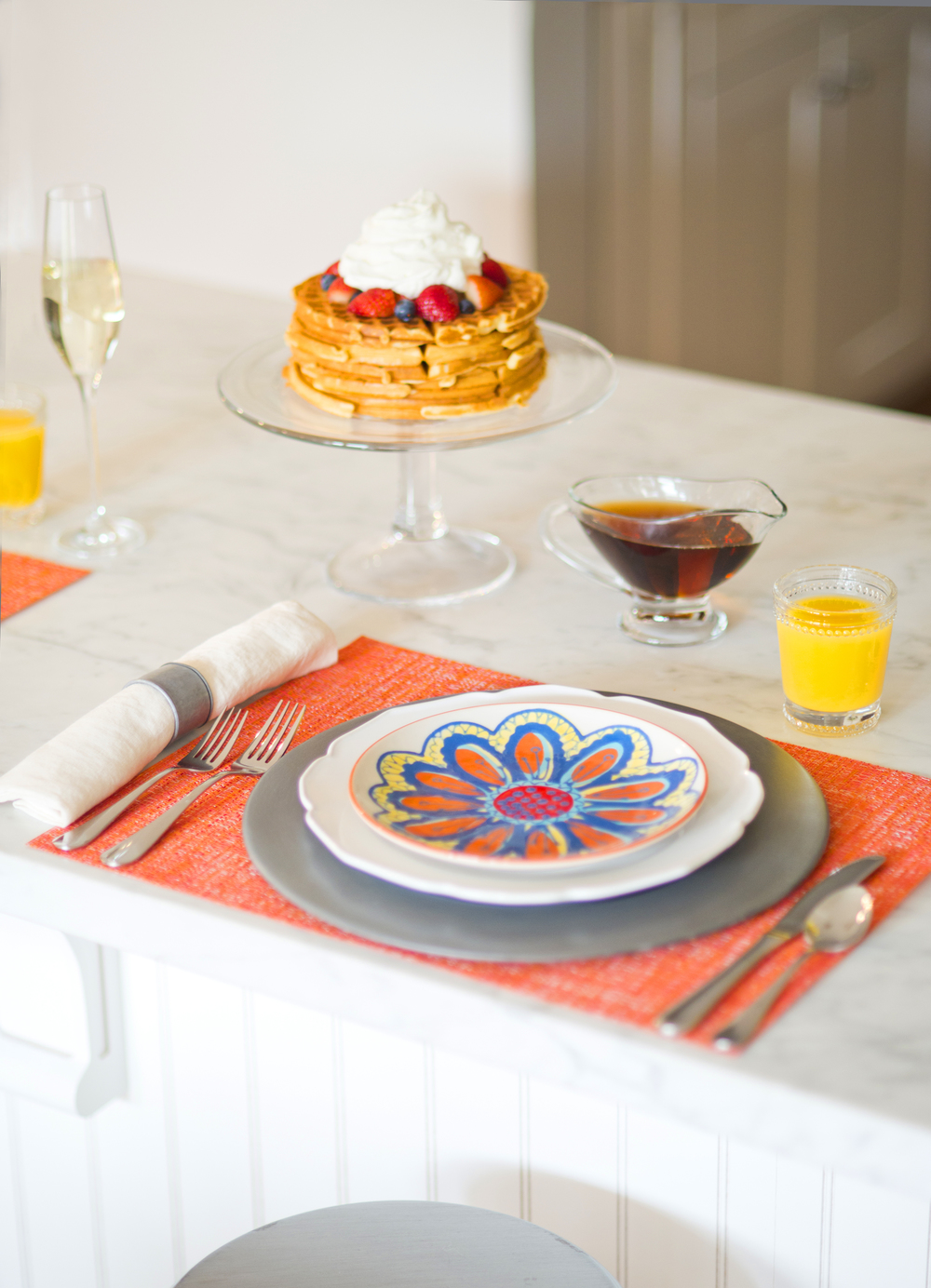 Sun-Kissed Spring Breakfast~ Serve homemade waffles and fresh squeezed O.J at your next breakfast gathering.