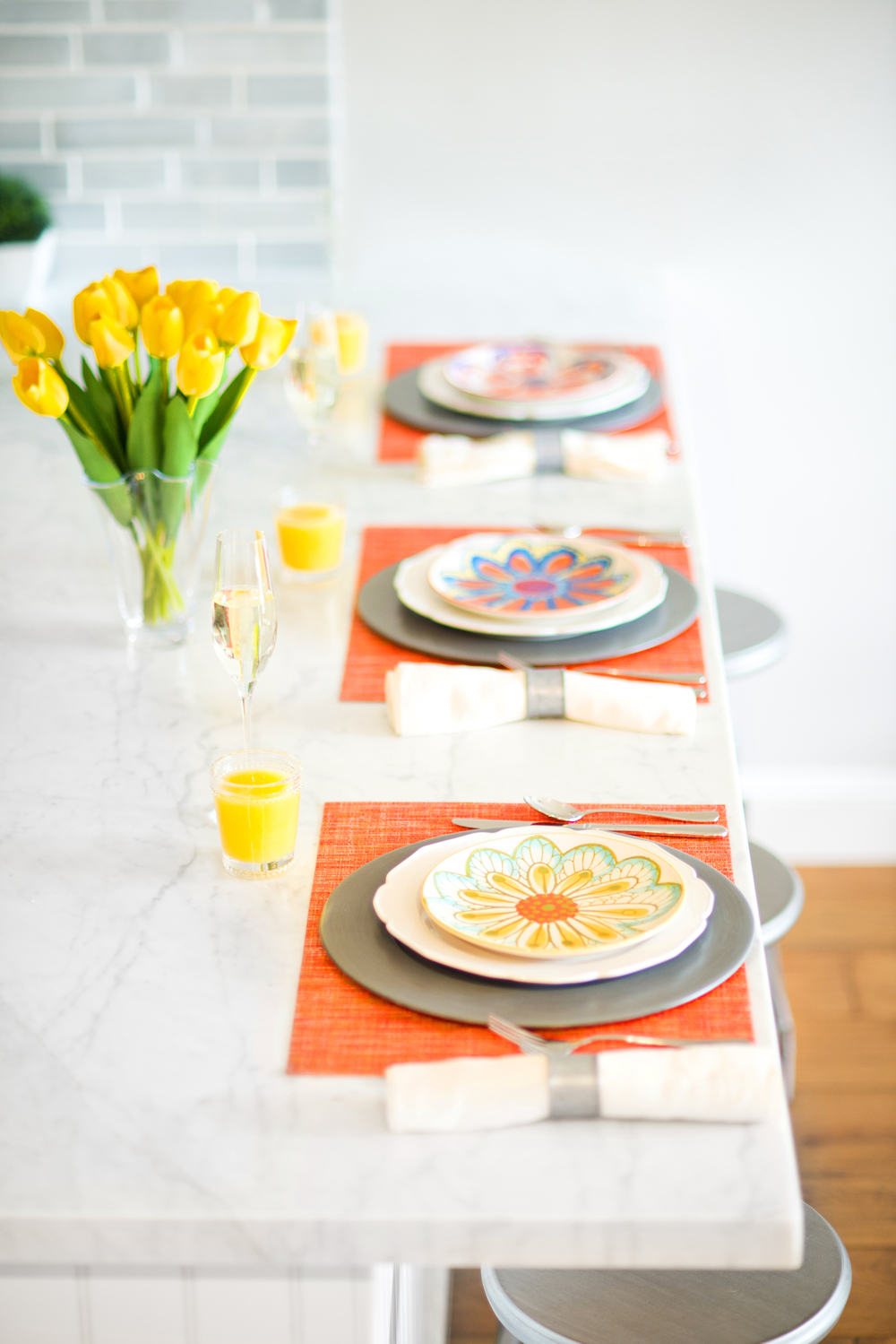 Sun-Kissed Spring Breakfast~ Turn your bar into a delightful table setting for the season!