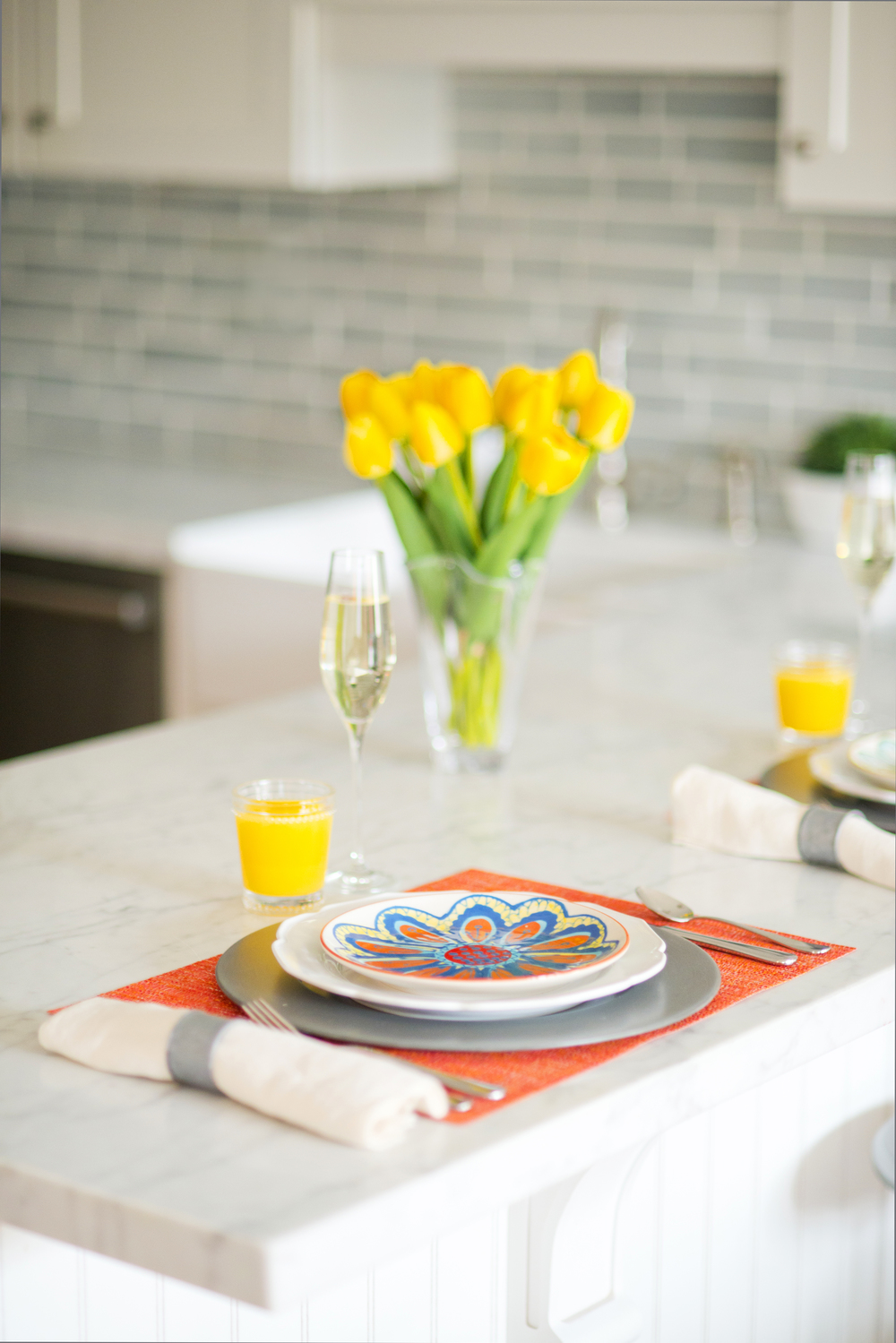 Sun-Kissed Spring Breakfast~ A delightful breakfast spread provided by Crate & Barrel! These pops of Spring color will brighten up any kitchen for the season!