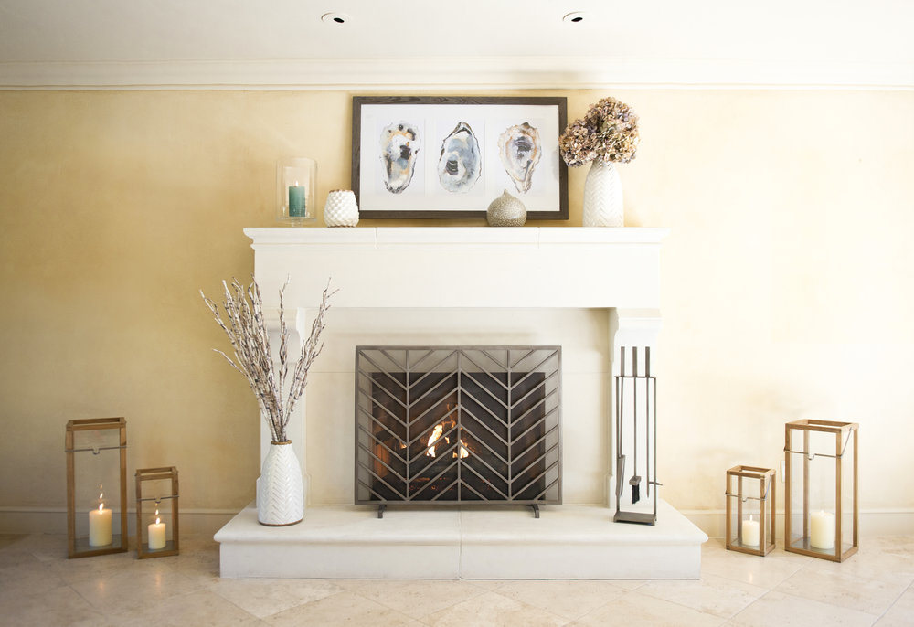 My Splendid Living partnered with Crate & Barrel with a beach casual Fireplace display! #cratestyle