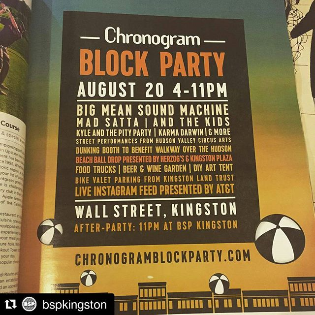 #Repost @bspkingston with @repostapp ・・・ Save the Date ! Sat Aug 20th the #chronogramblockparty returns! Lineup is looking great: Big Mean Sound Machine (Afro beat), And The Kids (indie), Mad Satta (neo-soul), Kyle & The Pity Party (indie), And Karma Darwin (ska-rock) and a whole lot more activities! And just like Chronogram it's FREE 🎉 #kingstonny #hudsonvalley #catskills #chronogram
