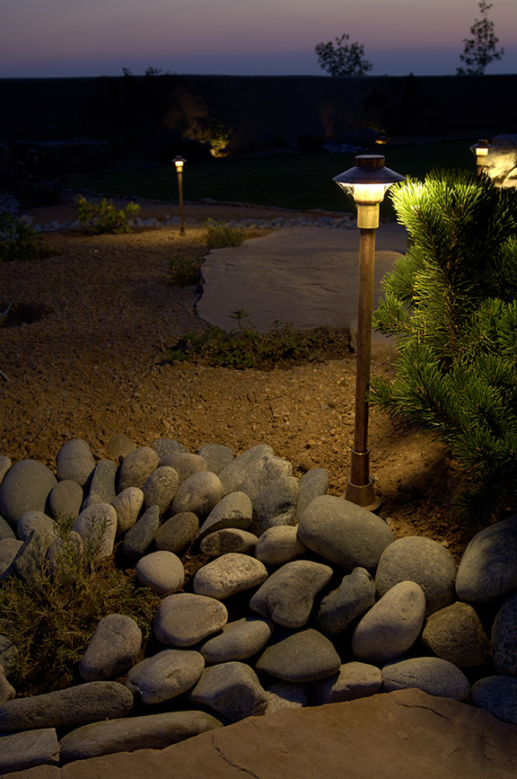 Exterior landscape solar lighting