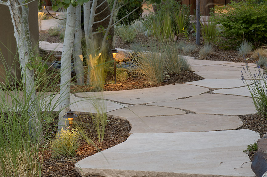 Stone pathway lighting