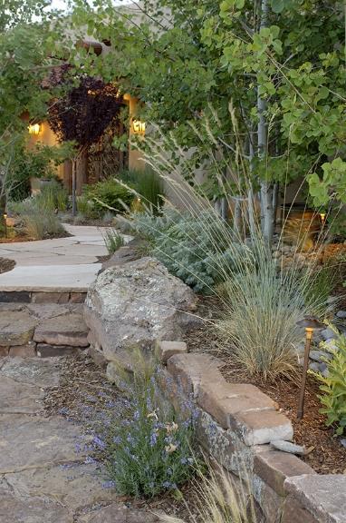 Stone walkway and retaining wall