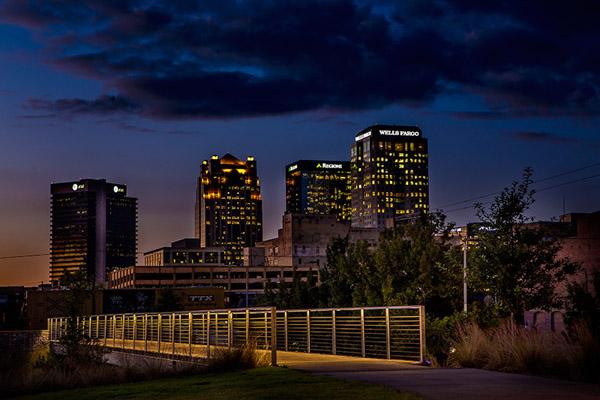 Evening Skyline from Railroad Park Bridge.