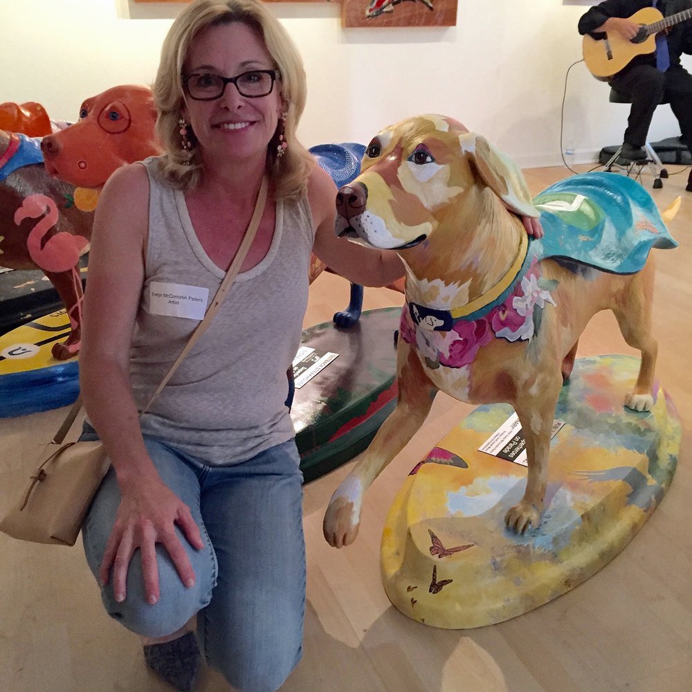 Artist Evelyn McCorristin Peters and her Superhero Dog sponsored by Publix.