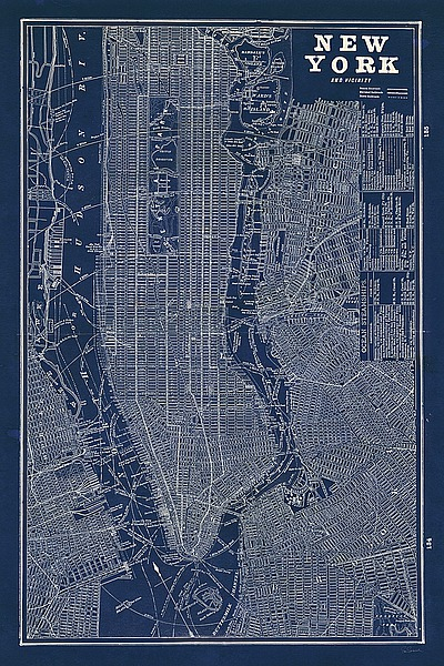 Blueprint map new york s1219 artful posters new york city blueprint map new york s1219 malvernweather Gallery