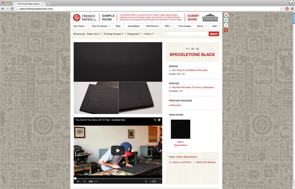 Work featured on  French Paper Co. Sample Room  blog.