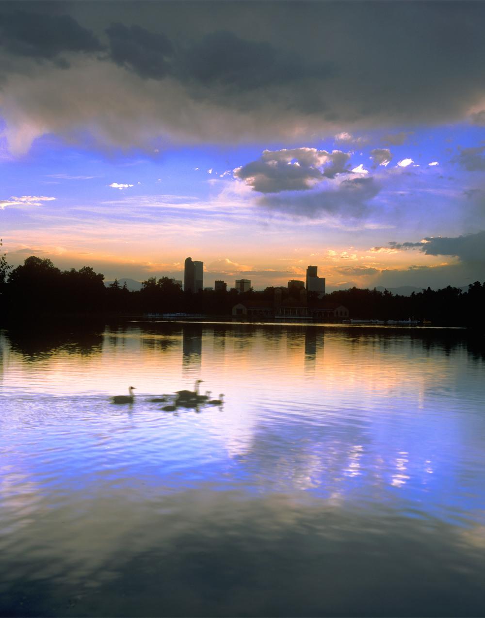 Denver at Sunset from City Park Lake