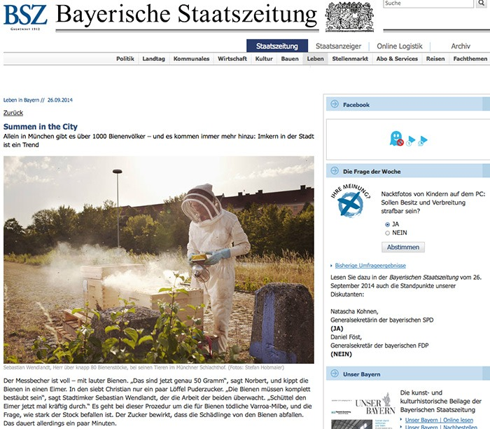 "BSZ  published two images of the  ""Munich's beekeepers""  series. Print and online."