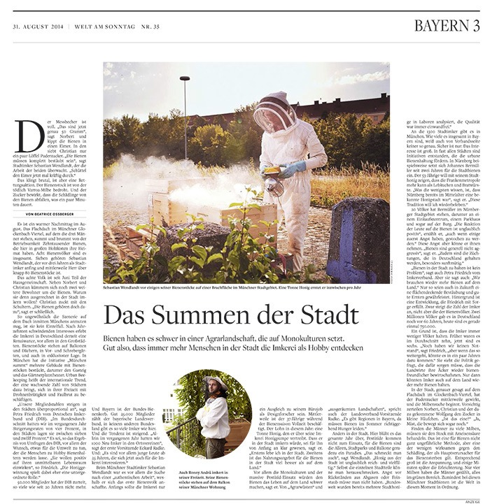 Some portraits from my beekeepers project in Welt am Sonntag Nr. 35.
