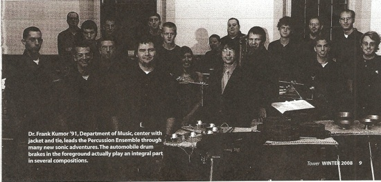 KU Percussion Ensemble in Tower, Winter 2008 (AJ Merlino, far left)