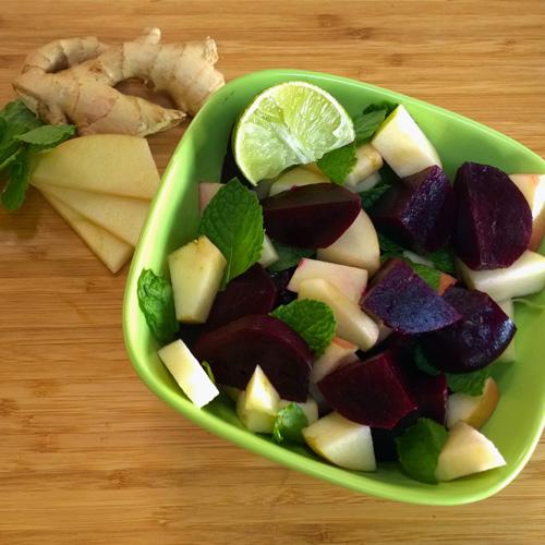 beet, apple, and mint salad