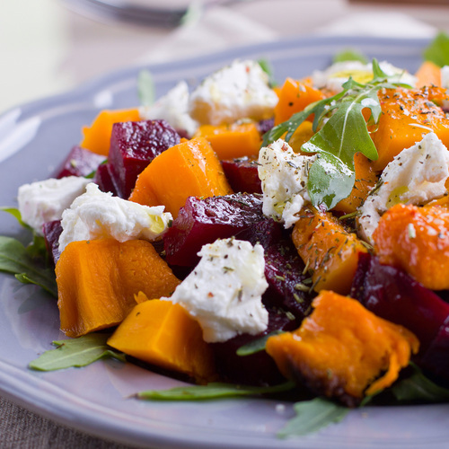 pumpkin and beet salad with feta cheese