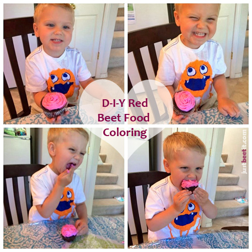 My adorable nephew, Gabriel enjoying his mom's homemade Beet Chocolate Cupcakes with Beet Dyed Frosting!