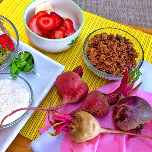 Beet Cherry Smoothie Bowl Ingredients